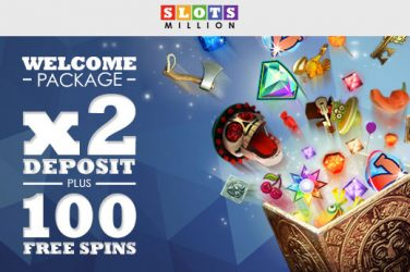 Receive 2x deposit bonus plus 100 free spins at Slots Million