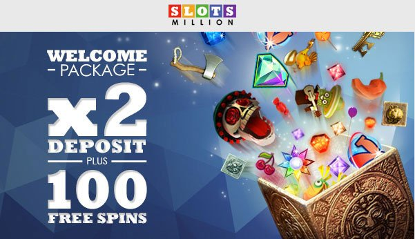 Receive 2x deposit bonus plus 100 free spins at Slots Million