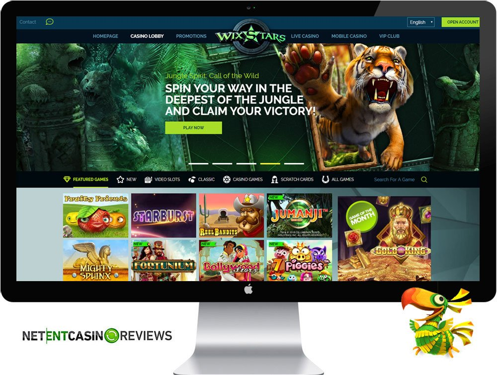 wixstars casino homepage visual